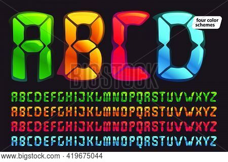 Alphabet In Alarm Clock Style. Digital Font In Four Color Schemes For Futuristic Company Identity, N