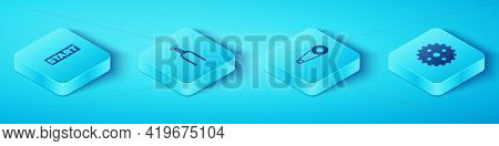 Set Isometric Ribbon In Finishing Line, Bicycle Fork, Sprocket Crank And Chain With Gear Icon. Vecto