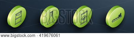 Set Isometric Barrel Oil Leak, Oil Petrol Test Tube, Bio Fuel Barrel And Oil Tanker Ship Icon. Vecto
