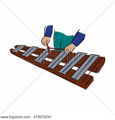 Voiced Percussion Musical Instrument Xylophone, With Wooden Base Keys And Percussion Sticks. Xylopho
