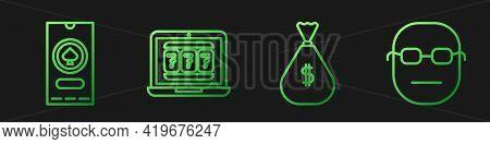 Set Line Money Bag, Casino Poker Tournament Invitation, Laptop And Slot Machine And Poker Player. Gr
