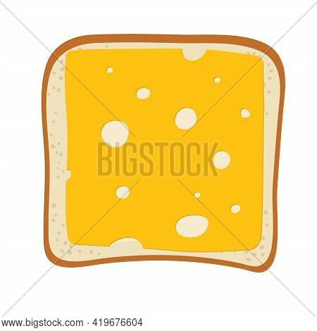 Toast With Cheese. Cheese Sandwich. Lunch, Dinner, Breakfast Snacks, Quick Snack. Vector Illustratio