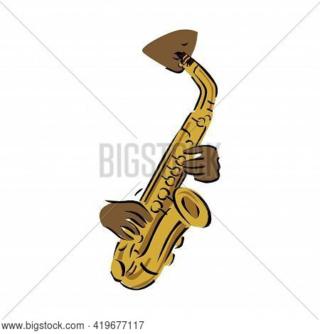 Illustration Of A Saxophone On A White Background In Eps10