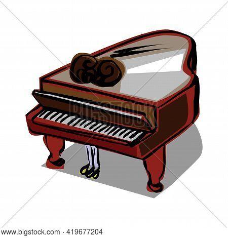 Piano, Grand Piano. Music, Pianist. Musical Instrument. Black Shiny Grand Piano. Modern Vector Flat