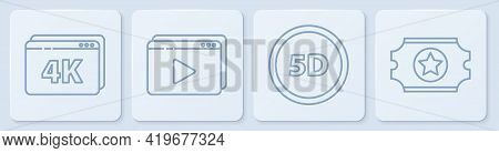 Set Line Online Play Video With 4k, 5d Virtual Reality, Online Play Video And Cinema Ticket. White S