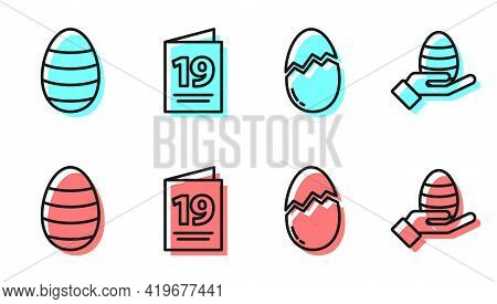 Set Line Broken Egg, Easter Egg, Greeting Card With Happy Easter And Human Hand And Easter Egg Icon.