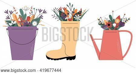 Cute Vector Set With Garden Design Elements.wildflowers In A Rubber Boot, In A Watering Can And In A