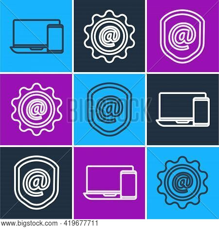 Set Line Monitor And Phone, Shield With Mail And E-mail And Mail And E-mail Icon. Vector