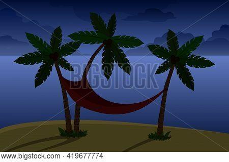 Hammock Om Coconut Tree. Night. Vector Illustration.