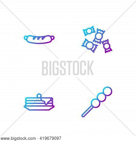 Set Line Meatballs On Wooden Stick, Stack Of Pancakes, Hotdog Sandwich And Candy. Gradient Color Ico