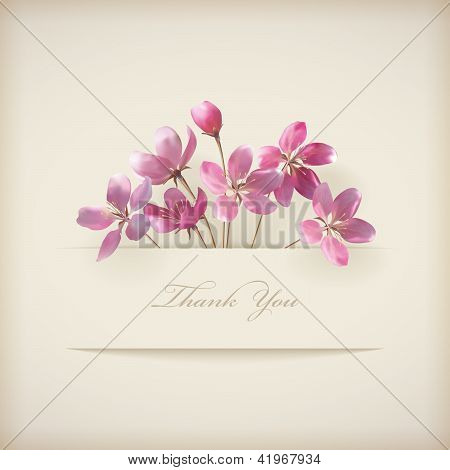 Floral Spring Vector 'Thank You' Pink Flowers Card