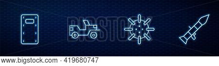 Set Line Naval Mine, Military Assault Shield, Jeep And Rocket Launcher. Glowing Neon Icon On Brick W
