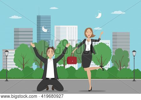 Employees Rejoice At Quarantine Cancellation And Toss Medical Masks In The Air. Vector Illustration.