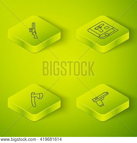 Set Isometric Line Book With Pistol Or Gun, Wooden Axe, Pistol And Hunting Icon. Vector