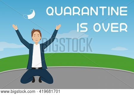 Quarantine Is Over. Man Toss Medical Mask In The Air. Cartoon Style. Vector Illustration.