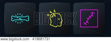 Set Line Bone Pain, Scar With Suture And Man Having Headache. Black Square Button. Vector