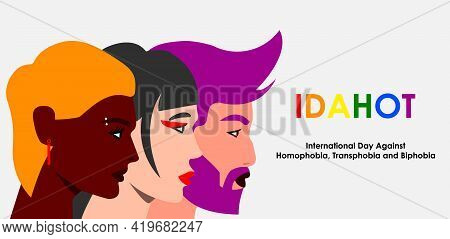 May 17 - The International Day Against Homophobia, Transphobia And Biphobia. Horizontal Poster With