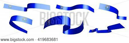 Set Of Holiday Ribbons. Flag Of American State Of Nevada Waving In Wind. Separation Into Lower And U