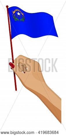 Female Hand Gently Holds Small Flag Of American State Of Nevada. Holiday Design Element. Cartoon Vec