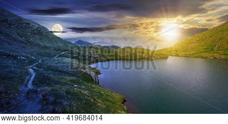 Day And Night Time Change Concept Above Summer Landscape With Lake On High Altitude. Beautiful Scene