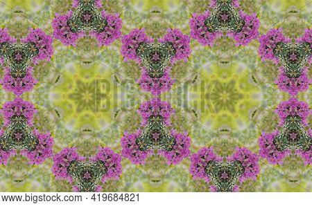 Abstract Geometric Patterns Kaleidoscope Purple Bougainvillea Flowers