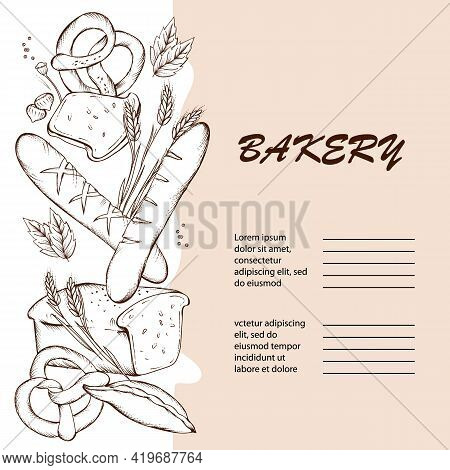 Bakery Or Bakehouse Sketch Banner Template, Vintage Hand Drawn Illustration With Various Bakery Prod