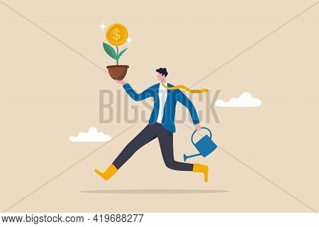 Investing In Growth Stock, Entrepreneur Growing Business Or Profit From Investment Concept, Happy Bu