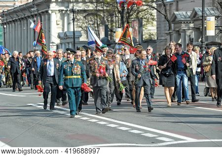 Veterans And Blockade Soldiers At The Parade Of The Victory Of The Great Patriotic War