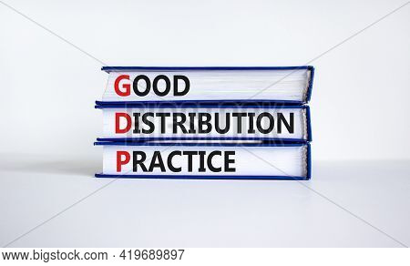 Gdp, Good Distribution Practice Symbol. Concept Words 'gdp, Good Distribution Practice' On Books On