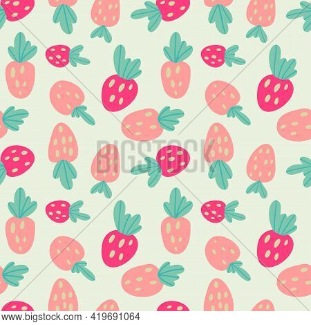 Naive Strawberries Seamless Pattern. Vector Illustration For Textile Design.