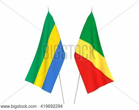 National Fabric Flags Of Gabon And Republic Of The Congo Isolated On White Background. 3d Rendering