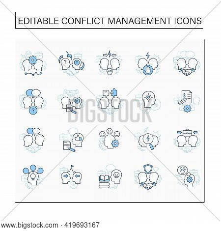 Conflict Management Line Icons Set. Conflict Between Two Persons. Dispute Resolution.compromising.co