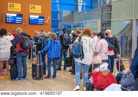 Moscow, Russia, May 07 2021: Group Of People Standing In Queue At Boarding Gate At Sheremetyevo Inte
