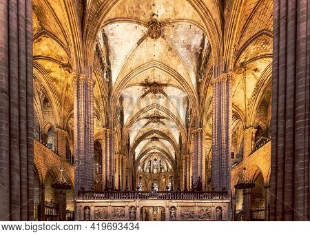 Barcelona - Spain. June 27, 2019: Inside A Gothic Barcelona Cathedral. Catalonia Spain