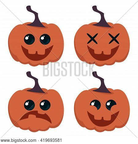 Set Of Cartoon Funny Pumpkins With Different Emotions. Happy Halloween. Vector Illustration In Carto