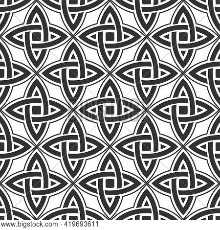 Abstract Vintage Geometric Seamless Pattern. Celtic Seamless Pattern. Geometric Lattice Ornament. Ve