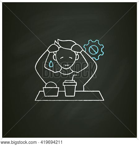 Workaholic Chalk Icon. Emotional Causes. Stressful Situation. Emotional Burnout Due To Work. Overwor