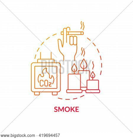Smoke Concept Icon. Indoor Air Pollution Idea Thin Line Illustration. Burning Forests And Peat. Part