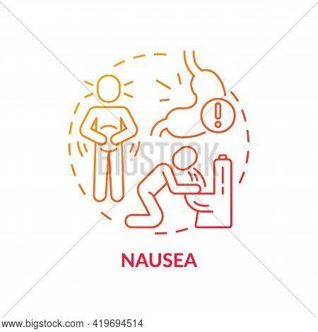 Nausea Concept Icon. Air Pollution Disease Symptom Idea Thin Line Illustration. Sick Building Sympto