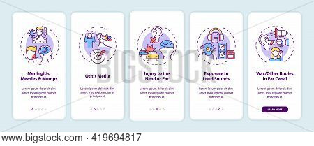 Acquired Hearing Loss Causes Onboarding Mobile App Page Screen With Concepts. Meningitis, Otitis Wal