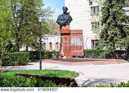 Samara, Russia - May 4, 2021: Bronze Monument To The Soviet Communist Revolutionary Galaktionov, Ale