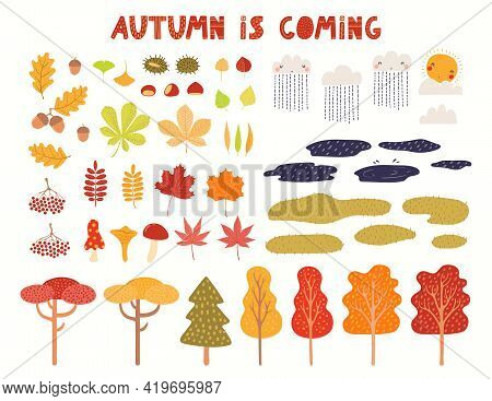 Autumn Landscape Clipart Collection, Tree, Leaves, Grass, Puddles, Isolated On White. Hand Drawn Vec