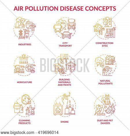 Air Pollution Disease Concept Icons Set. Emission Factors Idea Thin Line Rgb Color Illustrations. Cl
