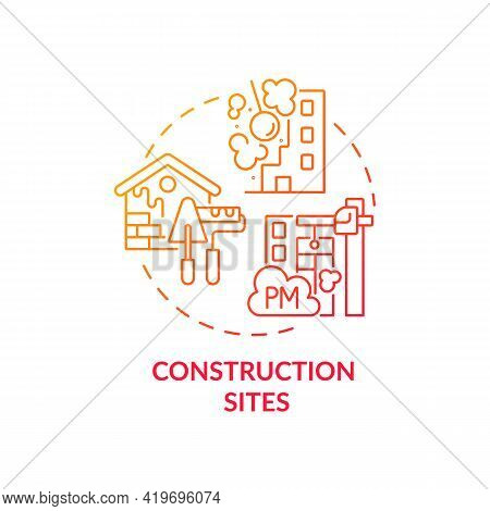 Construction Sites Concept Icon. Outdoor Air Pollutant Idea Thin Line Illustration. Solvents, Chemic