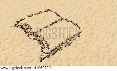 Concept conceptual stones on beach sand handmade symbol shape, golden sandy background, open book sign. A 3d illustration metaphor for learning, education, research,  science, literature and culture