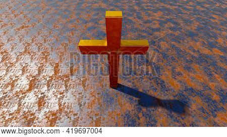 Concept or conceptual golden cross on a rusted corroded metal or steel sheet background. 3d illustration metaphor for God, Christ, religious, faith, holy, spiritual, Jesus, belief or resurection