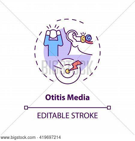 Otitis Media Concept Icon. Acquired Hearing Loss Idea Thin Line Illustration. Persistent Inflammatio