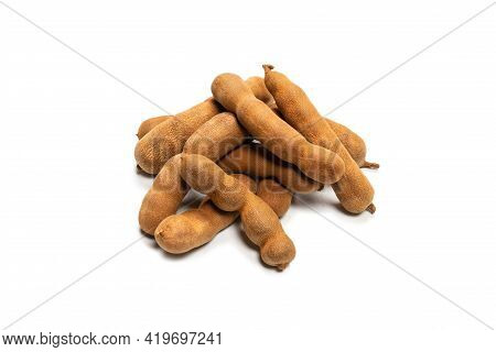 Sweet Tamarind Isolated On White Background. Top View.