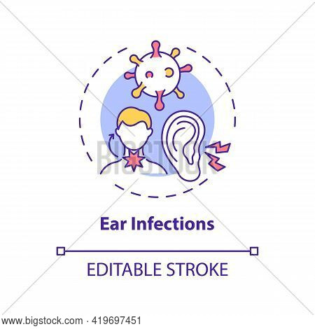 Ear Infections Concept Icon. Acute Otitis Media Idea Thin Line Illustration. Difficulty Hearing. Bac