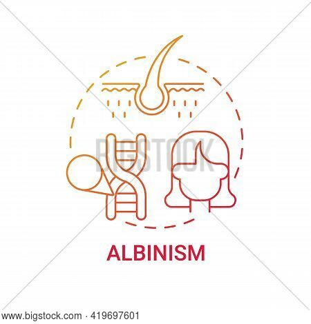 Albinism Red Gradient Concept Icon. No Color In Hair. Hereditary Physical Condition. Inherited Genet